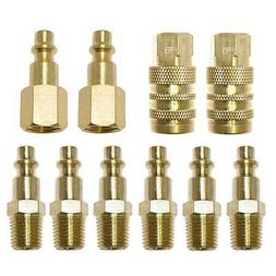 "10 Pc 1/4"" NPT Brass Air Tool Couplers W/ Adapter Quick Disc"