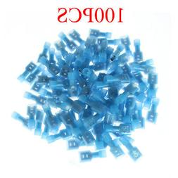 100 Female Insulated Wire Terminal Blue 16-14 Ga AWG Quick D