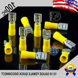 100 Pack 12-10 Gauge Female Quick Disconnect Yellow Vinyl Cr