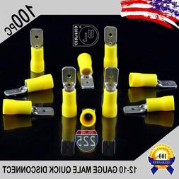 100 Pack 12-10 Gauge Male Quick Disconnect Yellow Vinyl Crim