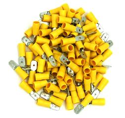 100 Pack 12-10 Gauge Yellow Male Quick Disconnect Terminals