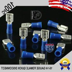 100 Pack 16-14 Gauge Female Quick Disconnect Blue Vinyl Crim