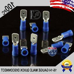 100 Pack 16-14ga Gauge Male Quick Disconnect Blue Vinyl Crim