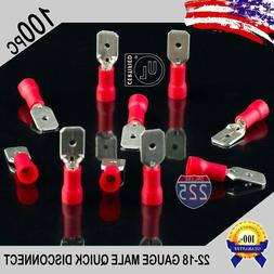 100 Pack 22-18 Gauge Male Quick Disconnect Red Vinyl Crimp T