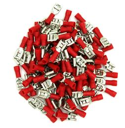 100 Pack 22-18 Gauge Red Female Quick Disconnect Terminals .