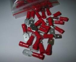 50 Vinyl Male Quick Disconnect Wire Connectors Terminals Red