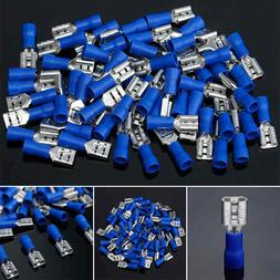 100X 16-14 AWG Blue Female Quick Disconnect Vinyl Crimp Term