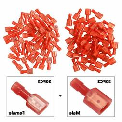 Male/Female 100X 22-16 Gauge Insulated Wire Terminal Quick D
