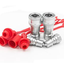 "2 Sets 1/4"" NPT Thread ISO-B Hydraulic Quick Disconnect Coup"