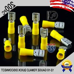 200 Pack 12-10 Gauge Female Quick Disconnect Yellow Vinyl Cr