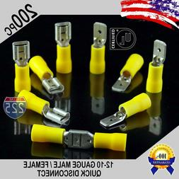 200 Pack 12-10 Gauge Male & Female Quick Disconnect Yellow V