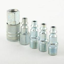 "5 Pc 1/4"" NPT Zinc Air Couplers With Adapter Quick Disconnec"