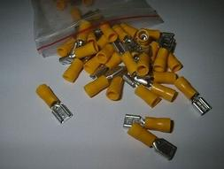 50 Vinyl Female Quick Disconnect Wire Terminals Yellow 12-10
