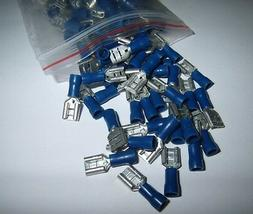 50 Vinyl Female Quick Disconnect Wire Terminals Blue 16-14 A