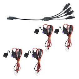 WMYCONGCONG 4 PCS Ring Terminal Harness with Fused SAE 2 Pin