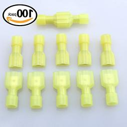 Glarks 100pcs 12-10 Gauge Fully Insulated Female Male Spade