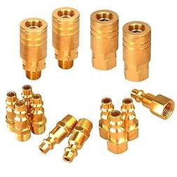 PowRyte 14-Piece 1/4-Inch Industrial Solid Brass Quick Coupl