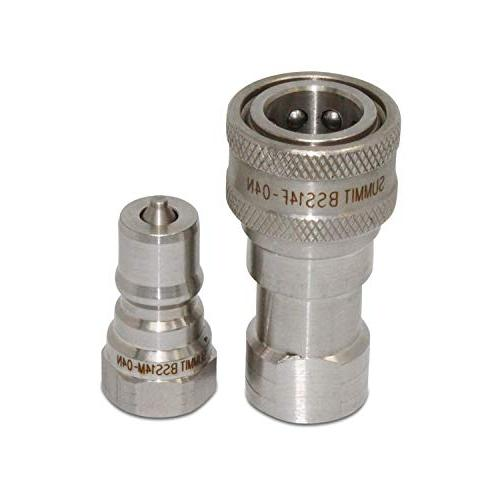 """1/4"""" NPT Stainless Hydraulic Coupling/Coupler Set"""