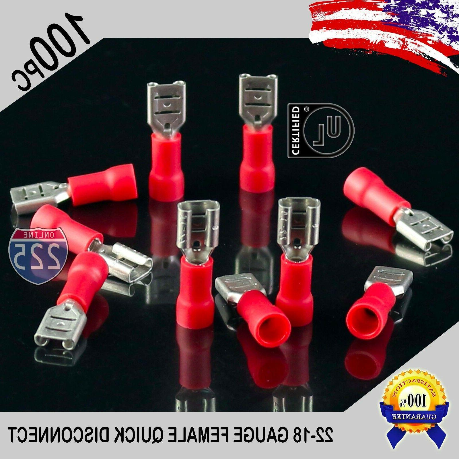 100 Pack 22-18 Gauge Female Quick Disconnect Red Vinyl Crimp