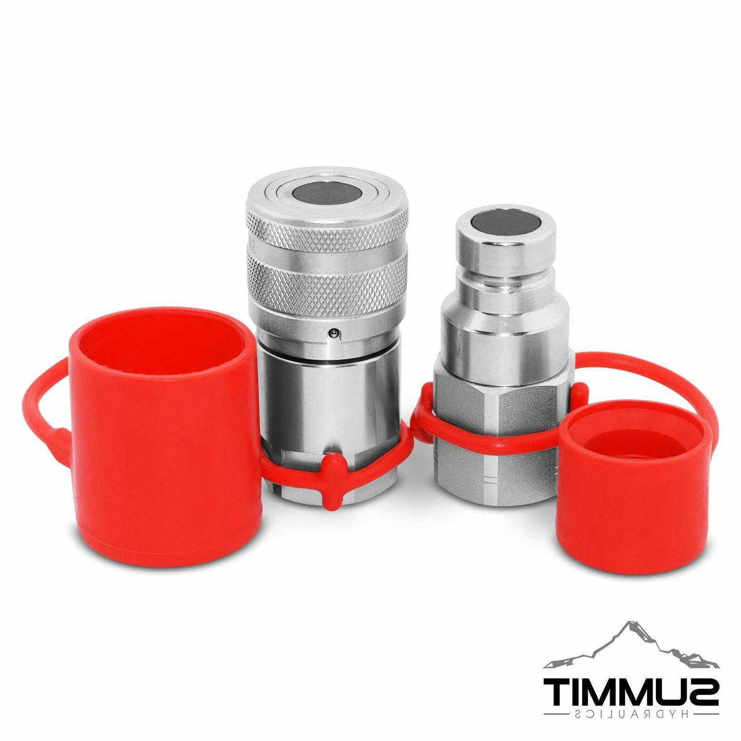 Flat Face High Flow Hydraulic Quick Disconnect Coupler Set,