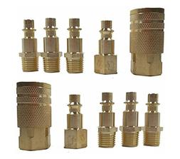 """10 Pc 1/4"""" NPT Brass Air Tool Couplers W/ Adapter Quick Disc"""